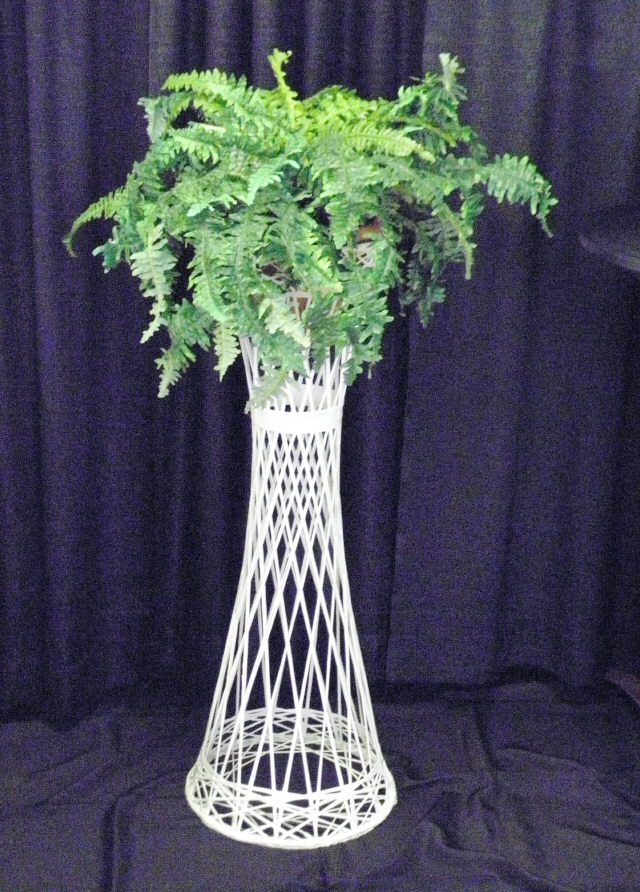 Where to find PLANT STAND 42  WHITE WICKER in Mt. Airy