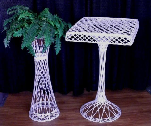 Where to find PLANT STAND 36  WHITE WICKER in Mt. Airy