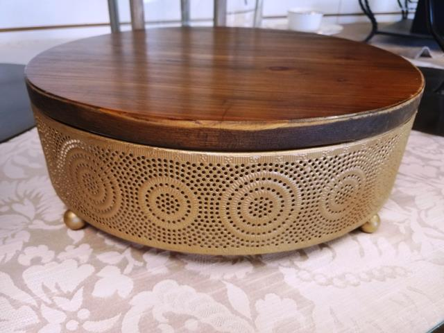 Where to find GOLD W  WOOD TOP 15  RD. CAKE STAND in Mt. Airy