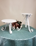Where to rent WHITE 8  ROUND SCROLLED CAKE STAND in Mt. Airy NC